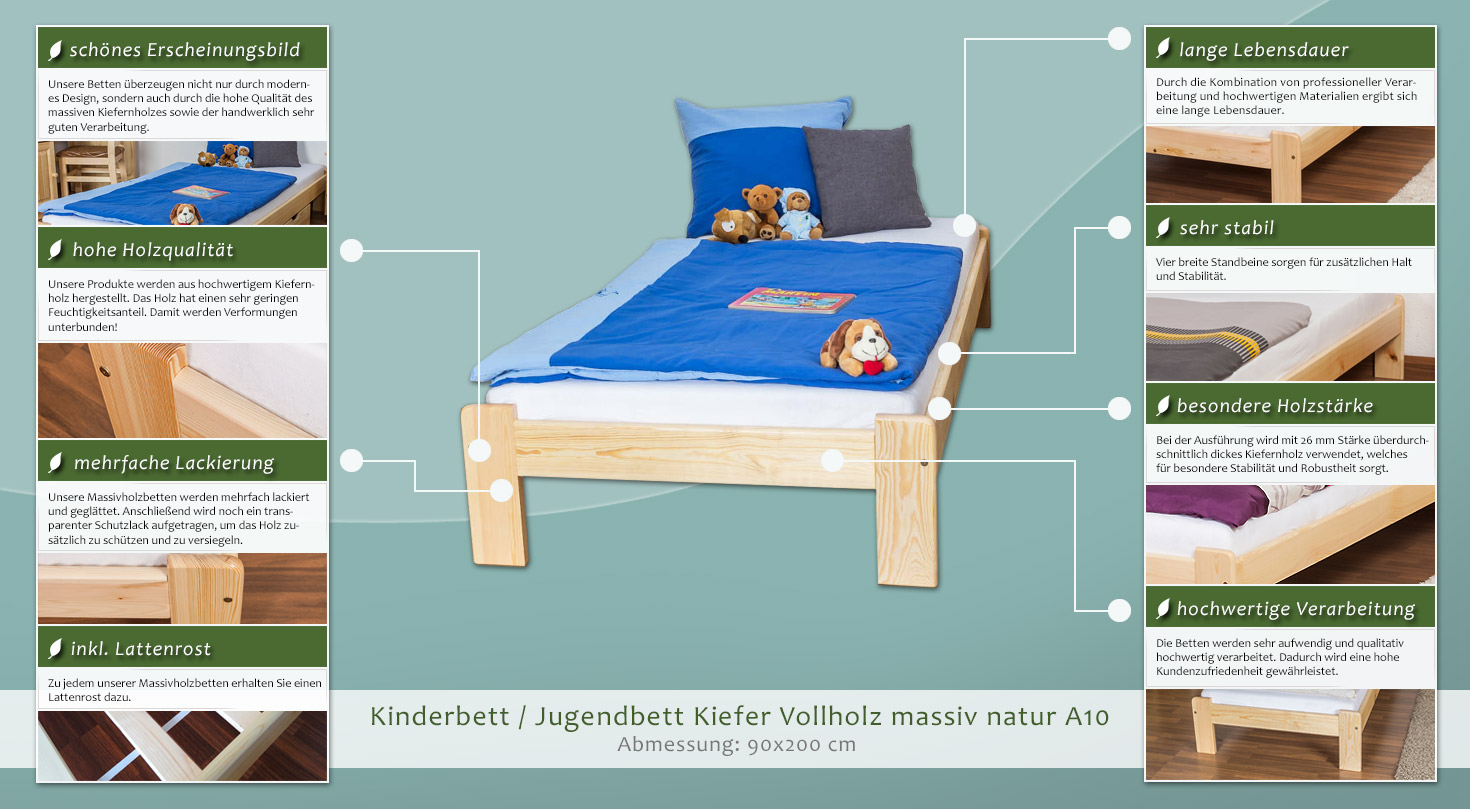 kinderbett jugendbett kiefer vollholz massiv natur a10 inkl lattenrost abmessung 90 x 200 cm. Black Bedroom Furniture Sets. Home Design Ideas