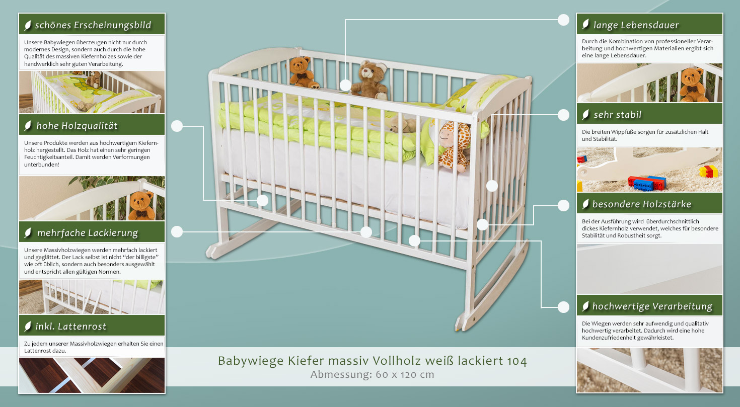 babywiege kiefer massiv vollholz wei lackiert 104 inkl lattenrost abmessung 60 x 120 cm. Black Bedroom Furniture Sets. Home Design Ideas