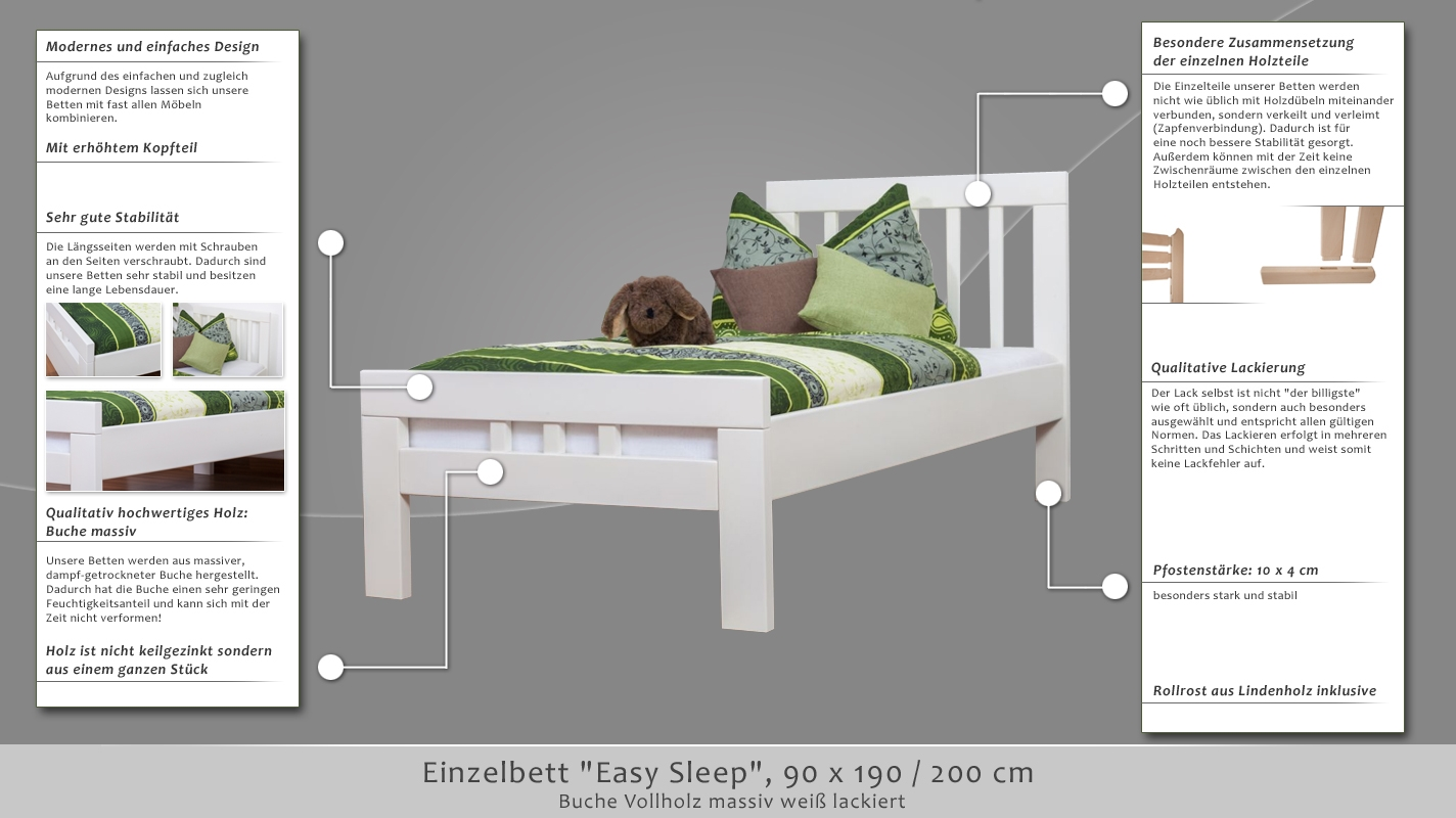 einzelbett easy sleep k8 90 x 190 cm buche vollholz massiv wei lackiert. Black Bedroom Furniture Sets. Home Design Ideas