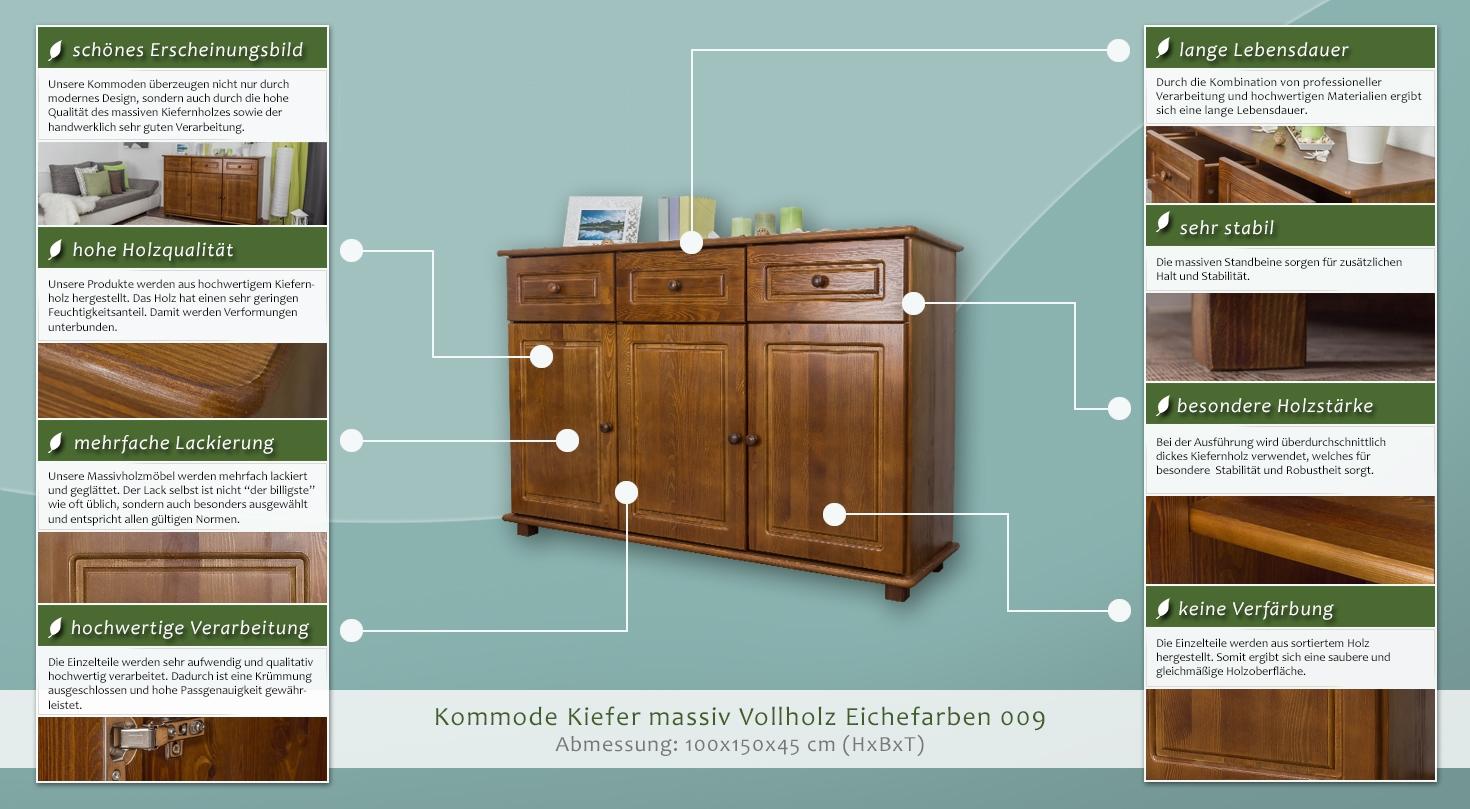kommode kiefer massiv vollholz eichefarben 009 abmessung 100 x 150 x 45 cm h x b x t. Black Bedroom Furniture Sets. Home Design Ideas