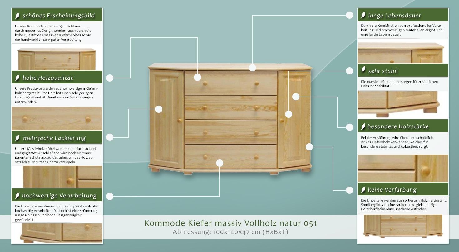 kommode massiv vollholz natur 50 abmessung 100 x 140 x 47 cm h x b x t. Black Bedroom Furniture Sets. Home Design Ideas