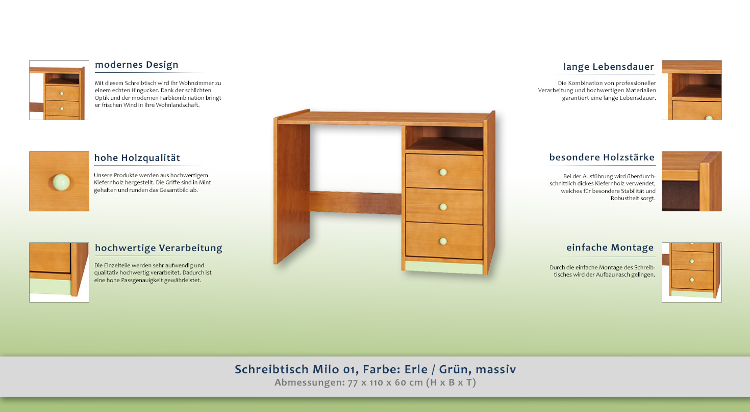 schreibtisch milo 01 farbe erle gr n kiefer vollholz massiv abmessungen 77 x 110 x 60 cm. Black Bedroom Furniture Sets. Home Design Ideas