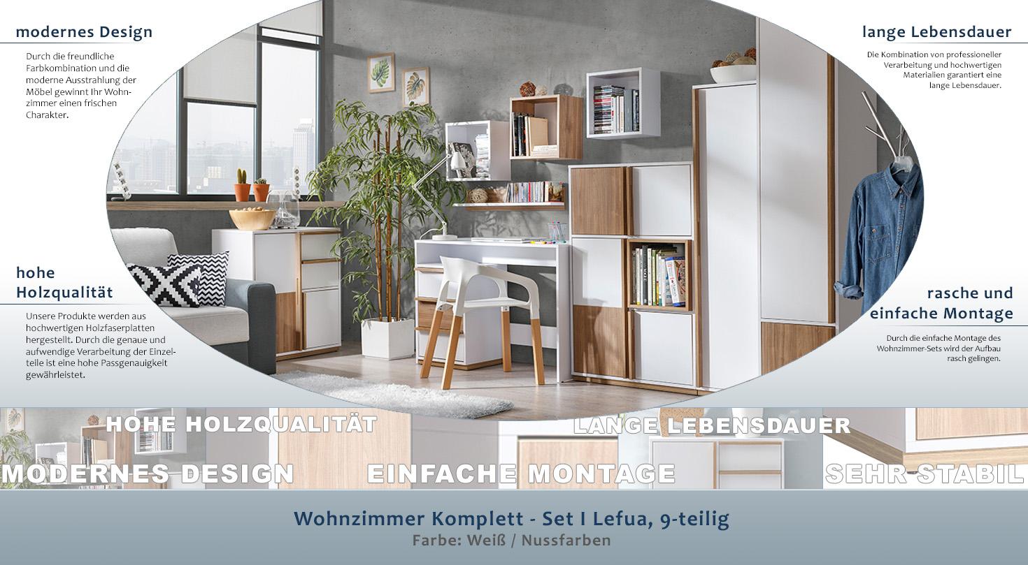 Wohnzimmer Komplett - Set I Lefua, 9-teilig, Farbe: Weiß / Nussfarben