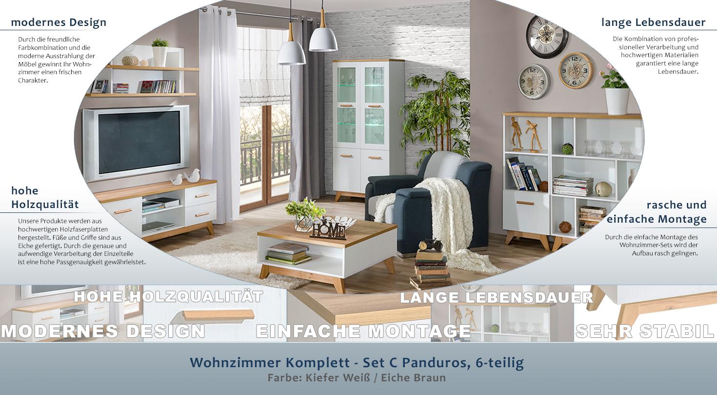 wohnzimmer komplett - set c panduros, 6-teilig, farbe: kiefer weiß, Wohnzimmer dekoo