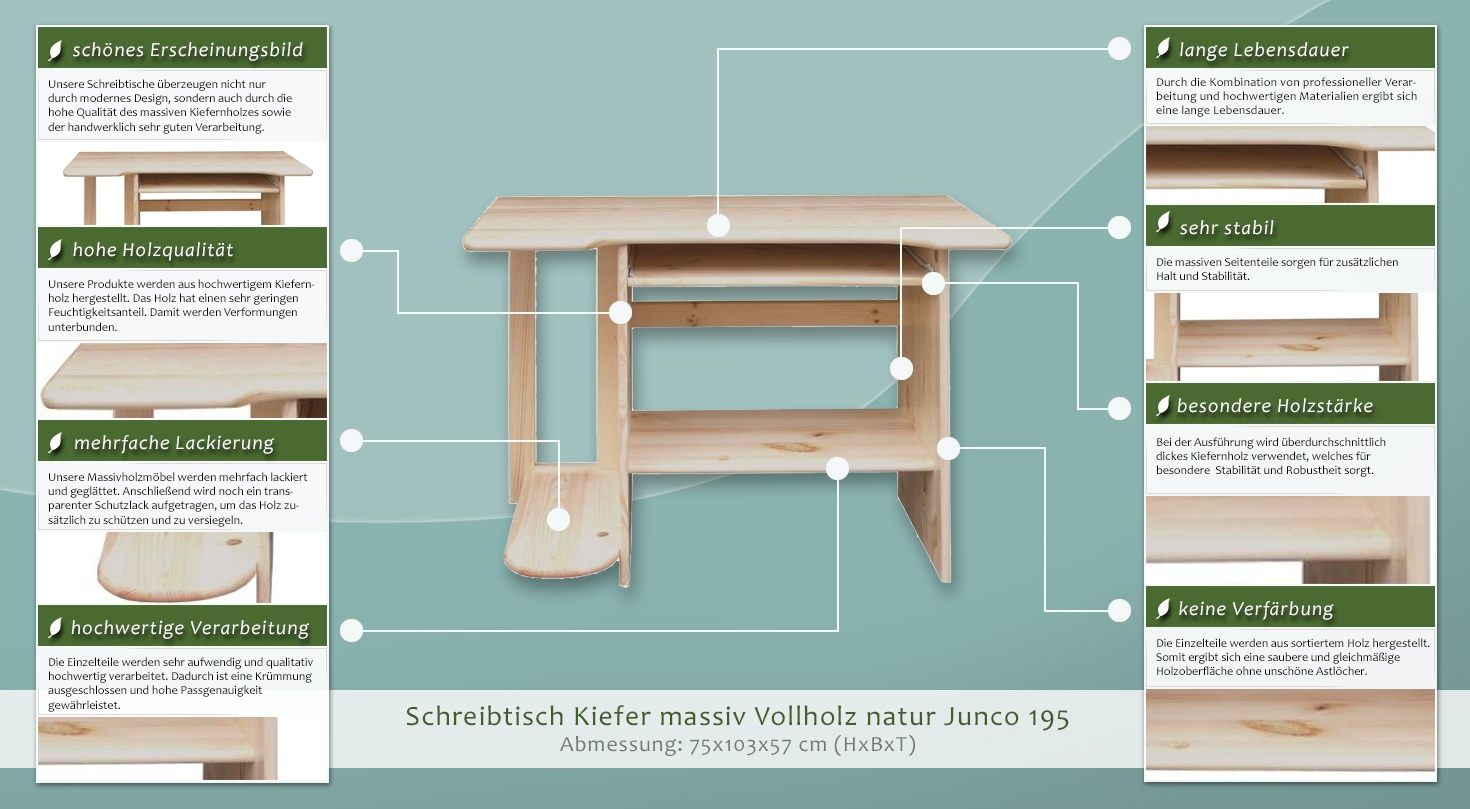 schreibtisch kiefer massiv vollholz natur junco 195 abmessung 75 x 103 x 57 cm. Black Bedroom Furniture Sets. Home Design Ideas