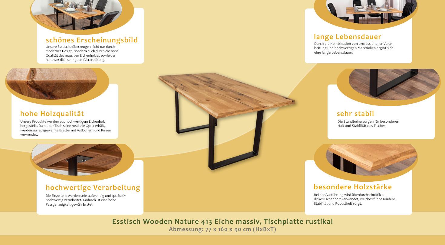 Esstisch Wooden Nature 413 Eiche massiv geölt, Tischplatte rustikal ...