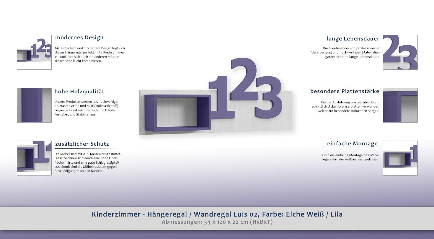 Kinderzimmer Hangeregal Wandregal Luis 02 Farbe Eiche Weiss