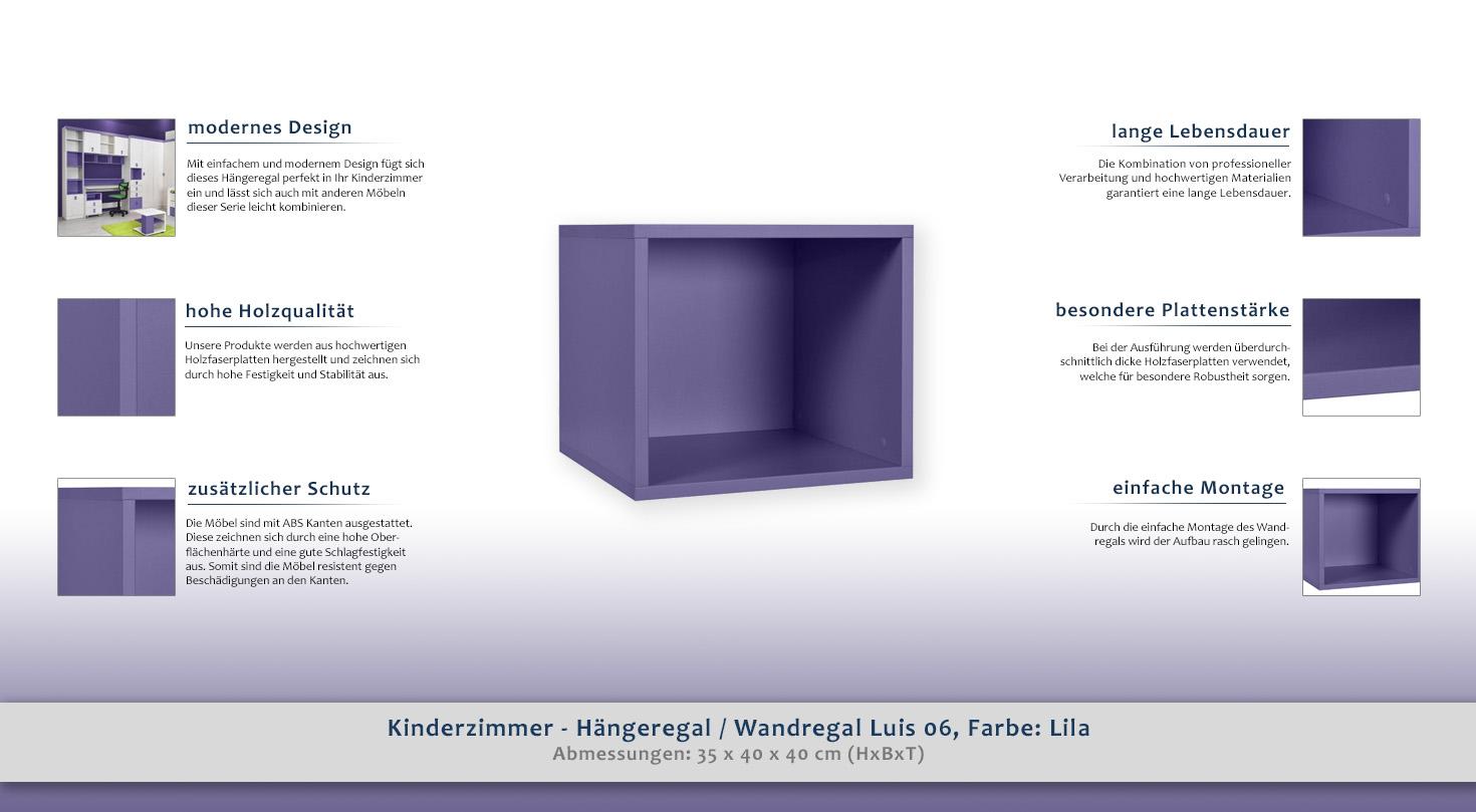 Kinderzimmer Hangeregal Wandregal Luis 06 Farbe Lila 35 X