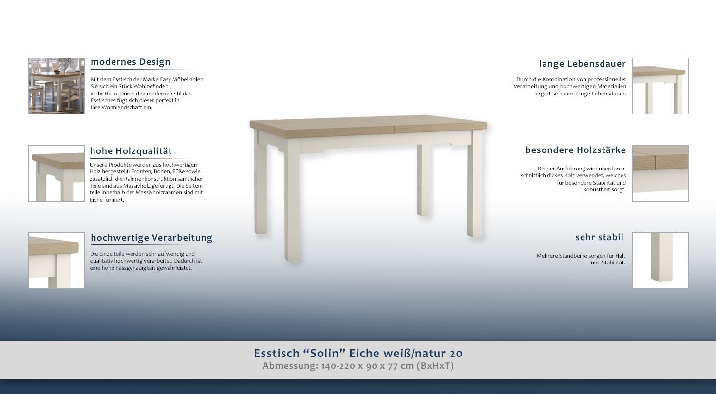 Esstisch Ausziehbar Solin Eiche Weiss Natur 20 Eckig