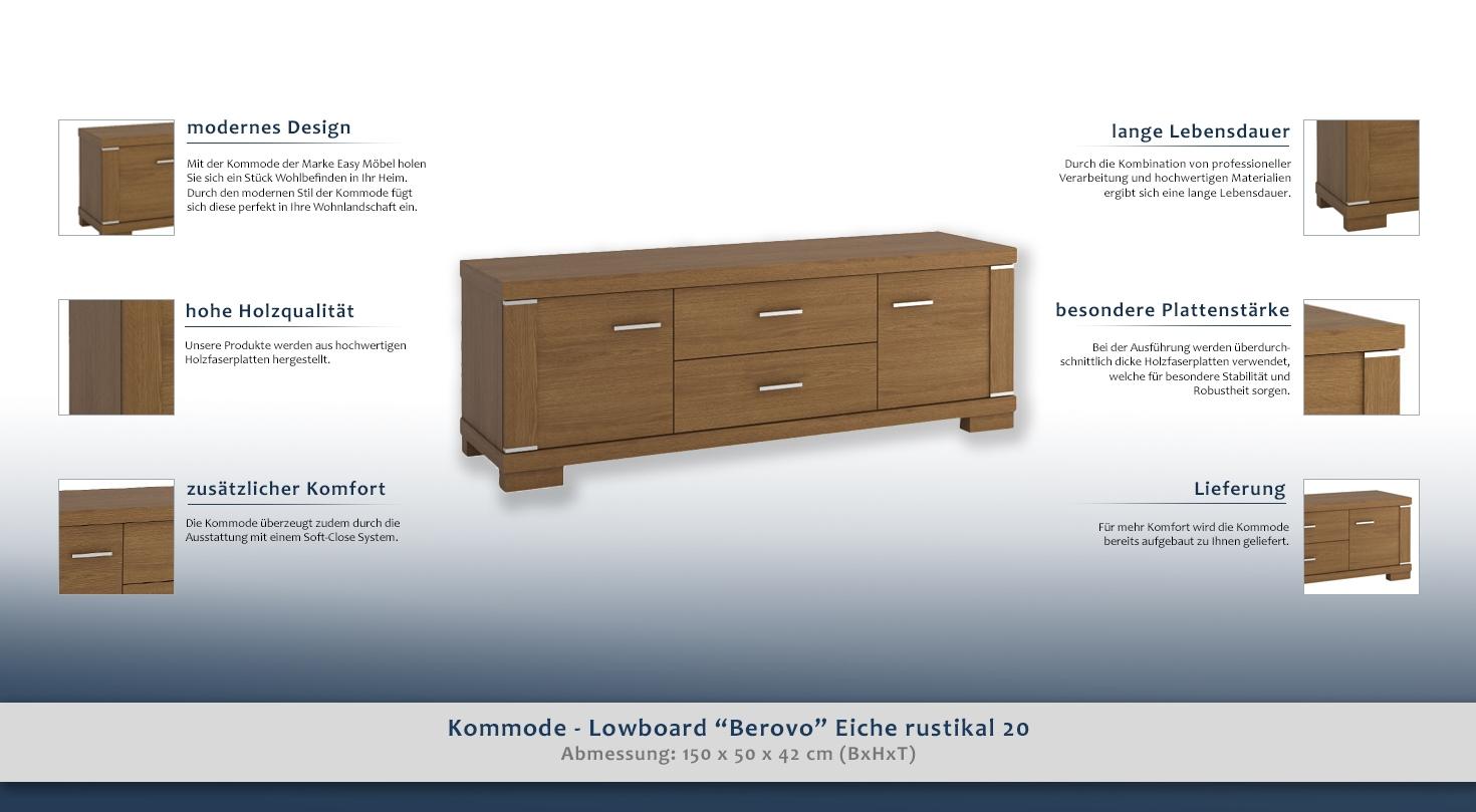 kommode lowboard berovo eiche rustikal 20 abmessungen 50 x 150 x 42 cm h x b x t. Black Bedroom Furniture Sets. Home Design Ideas