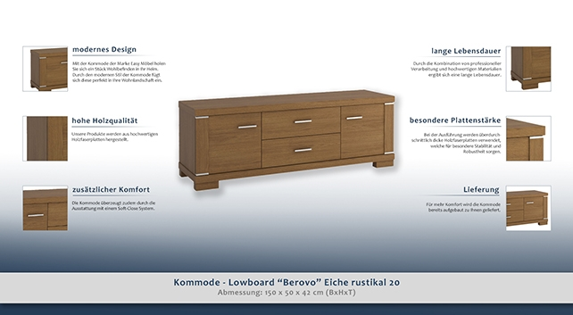 kommode lowboard berovo eiche rustikal 20 abmessungen 50 x 150 x 42 cm h x b x t. Black Bedroom Furniture Sets. Home Design Ideas