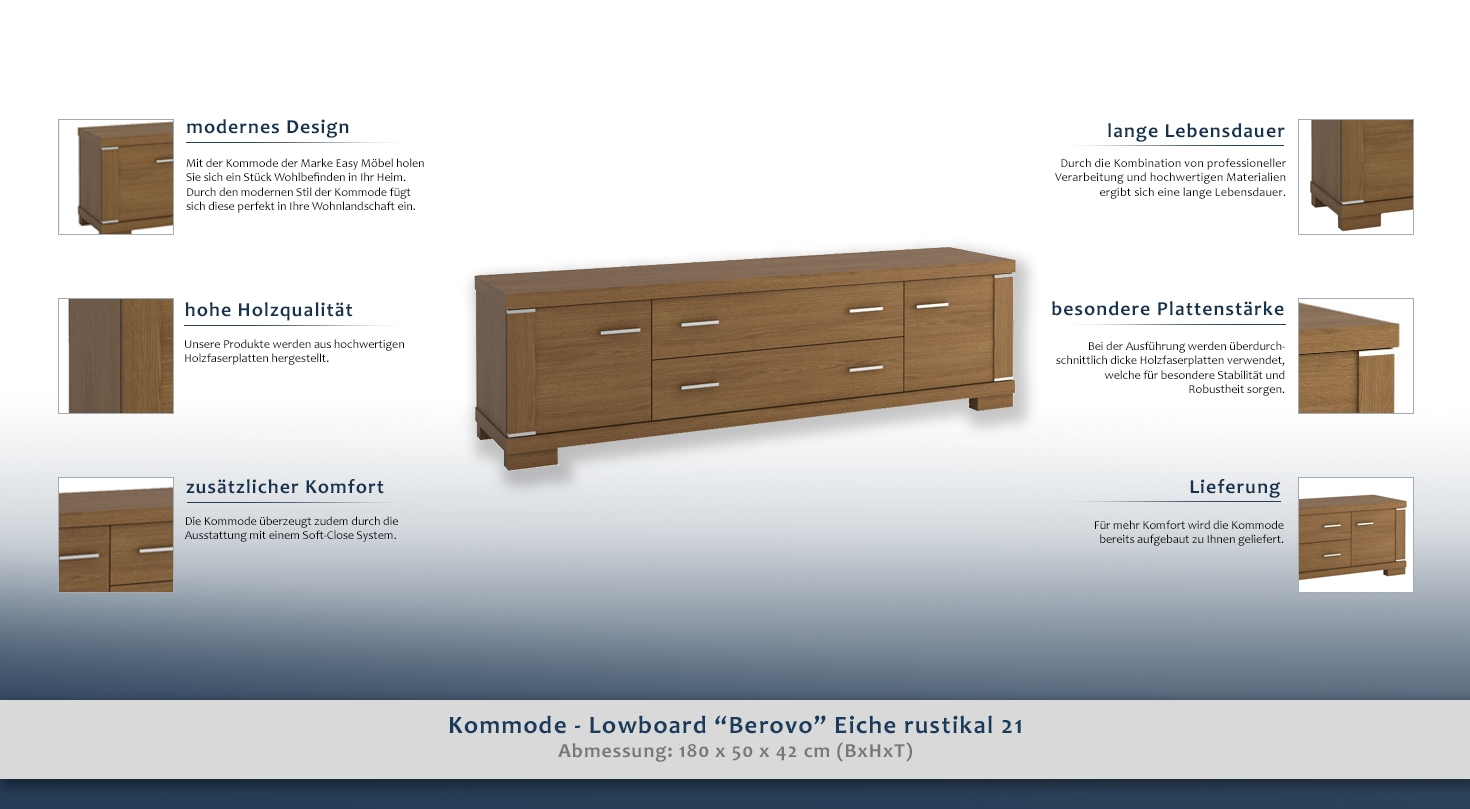 kommode lowboard berovo eiche rustikal 21 abmessungen 50 x 180 x 42 cm h x b x t. Black Bedroom Furniture Sets. Home Design Ideas