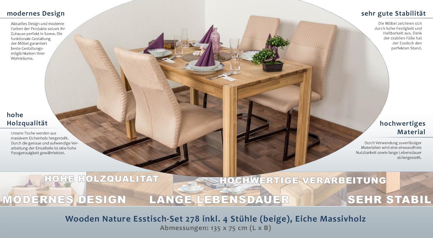 Wooden Nature Esstisch-Set 278 inkl. 4 Stühle (beige), Eiche ...