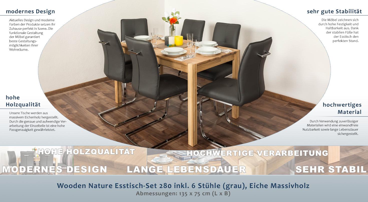Wooden Nature Esstisch-Set 280 inkl. 6 Stühle (grau), Eiche ...