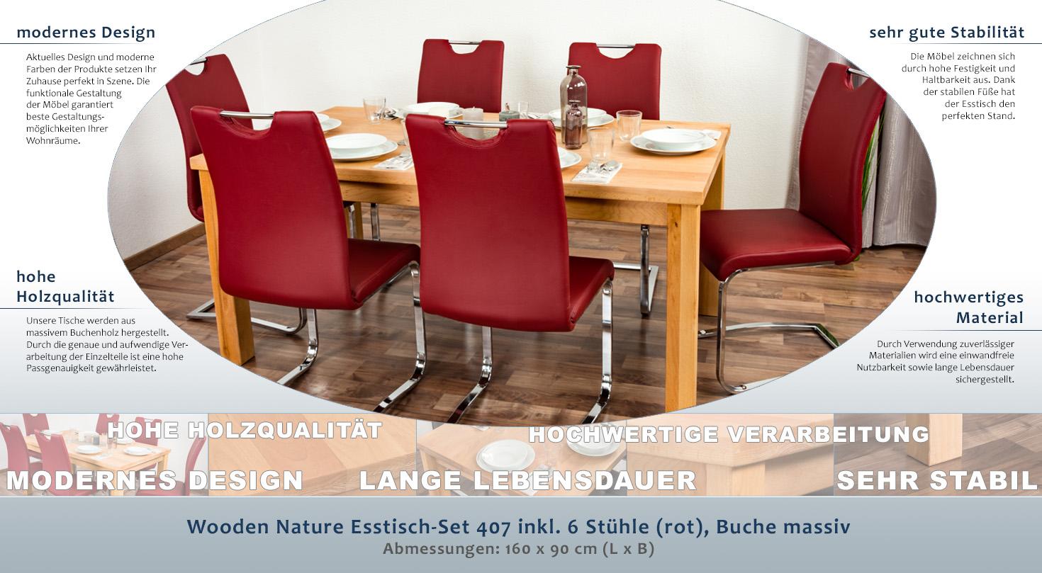 Wooden Nature Esstisch Set 407 Inkl 6 Stuhle Rot Buche Massiv 160 X 90 L X B