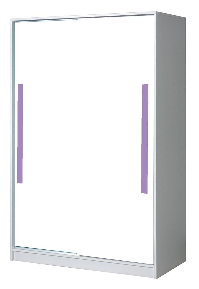 Schön Kinderzimmer   Schiebetürenschrank / Kleiderschrank Walter 12, Farbe: Weiß  Hochglanz / Lila   191 X 120 X 60 Cm (H X B X T)