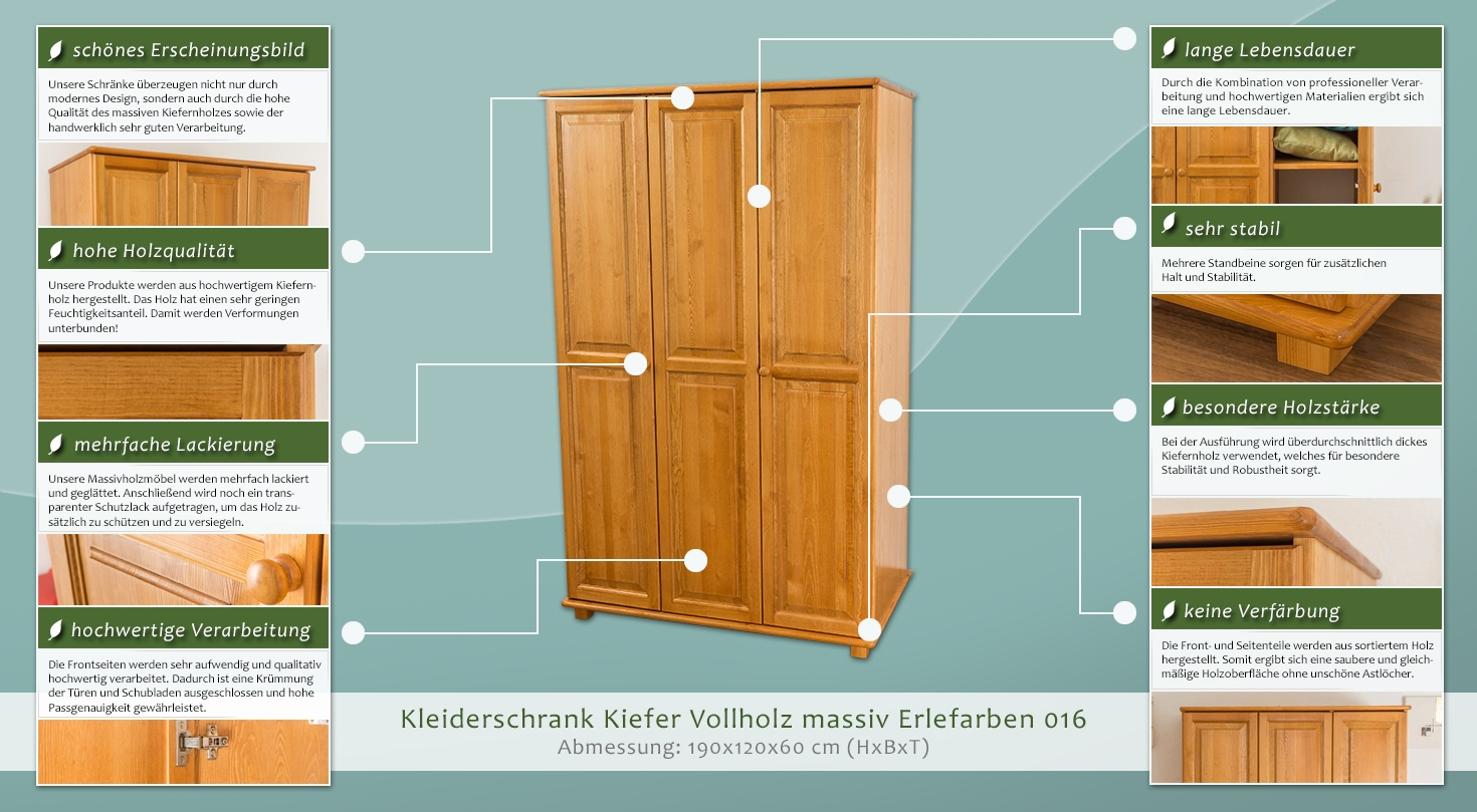 kleiderschrank kiefer vollholz massiv erlefarben 016 abmessung 190 x 120 x 60 cm h x b x t. Black Bedroom Furniture Sets. Home Design Ideas