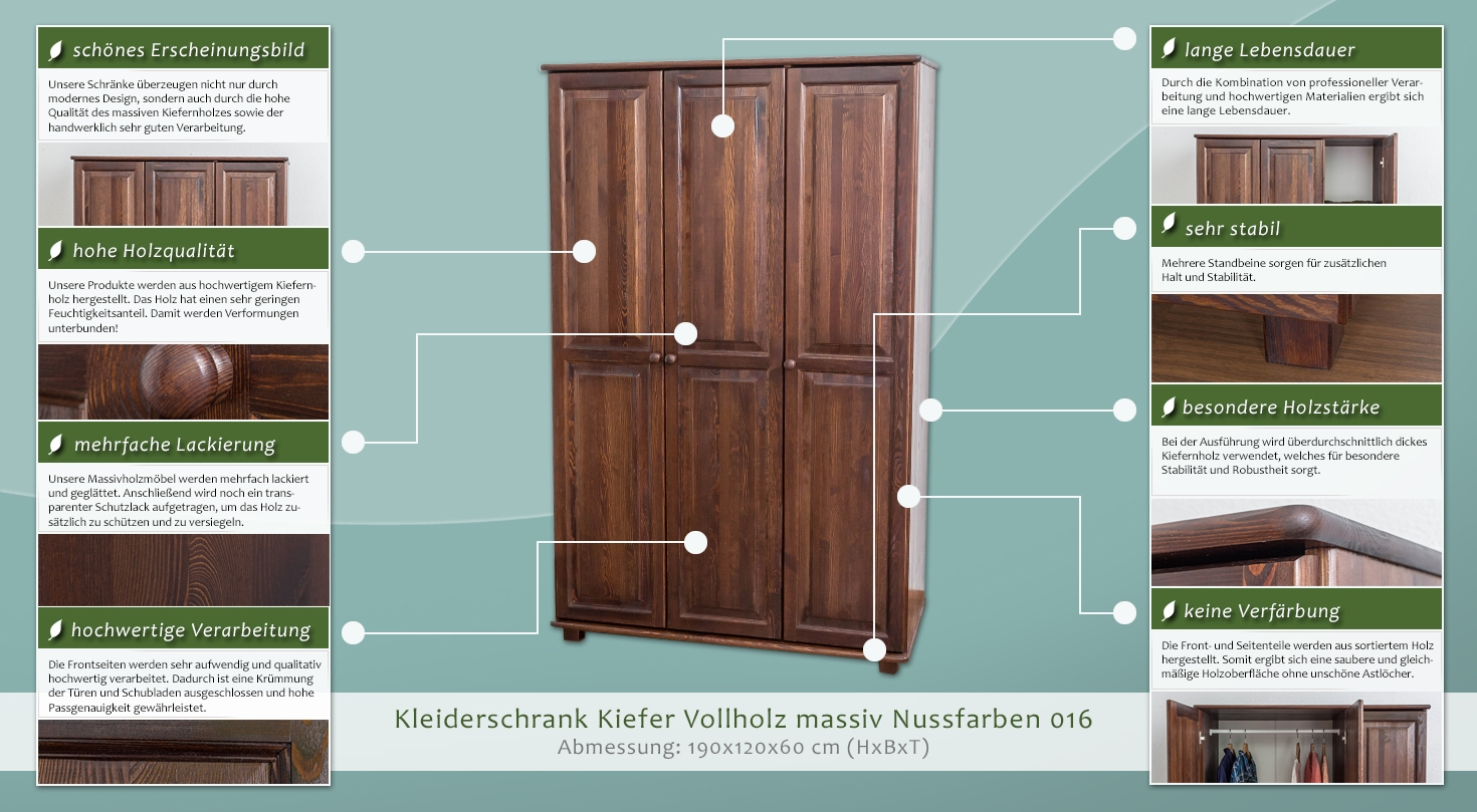 kleiderschrank kiefer vollholz massiv nussfarben 016 abmessung 190 x 120 x 60 cm h x b x t. Black Bedroom Furniture Sets. Home Design Ideas