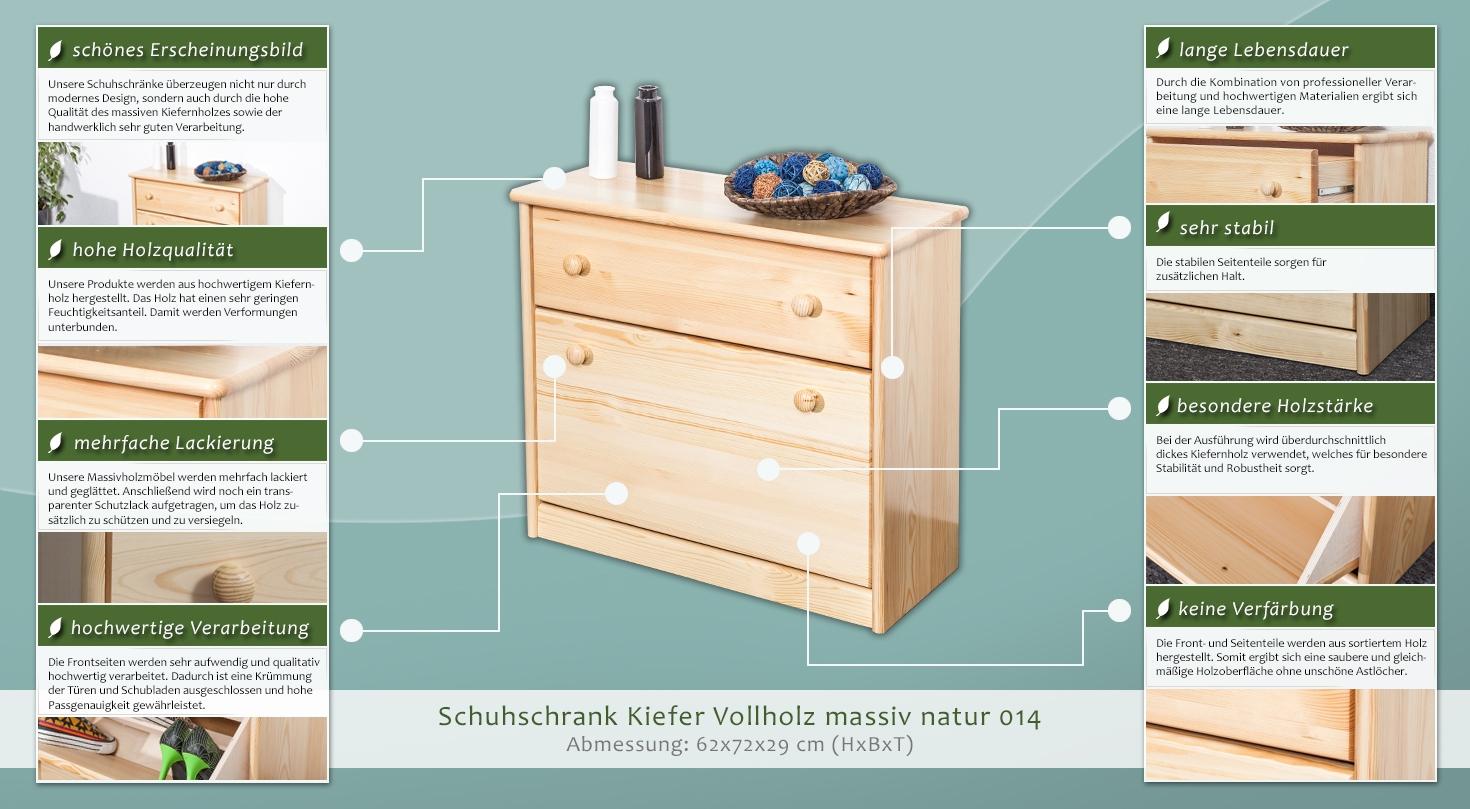 Schuhschrank 014 Kiefer massiv Vollholz natur - Abmessung 62x72x29cm