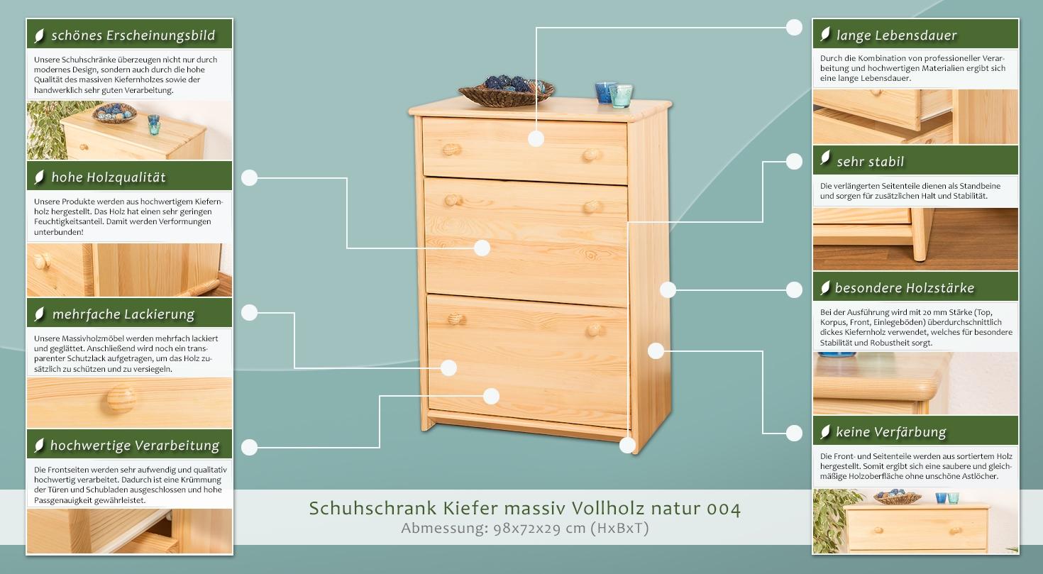 Schuhschrank 004 Kiefer massiv Vollholz natur - Abmessung 98x72x29cm