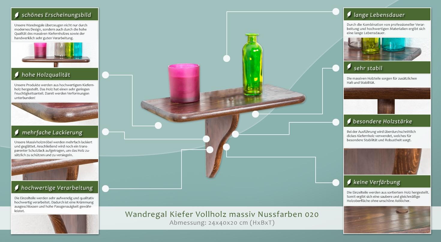wandregal kiefer vollholz massiv nussfarben 020. Black Bedroom Furniture Sets. Home Design Ideas